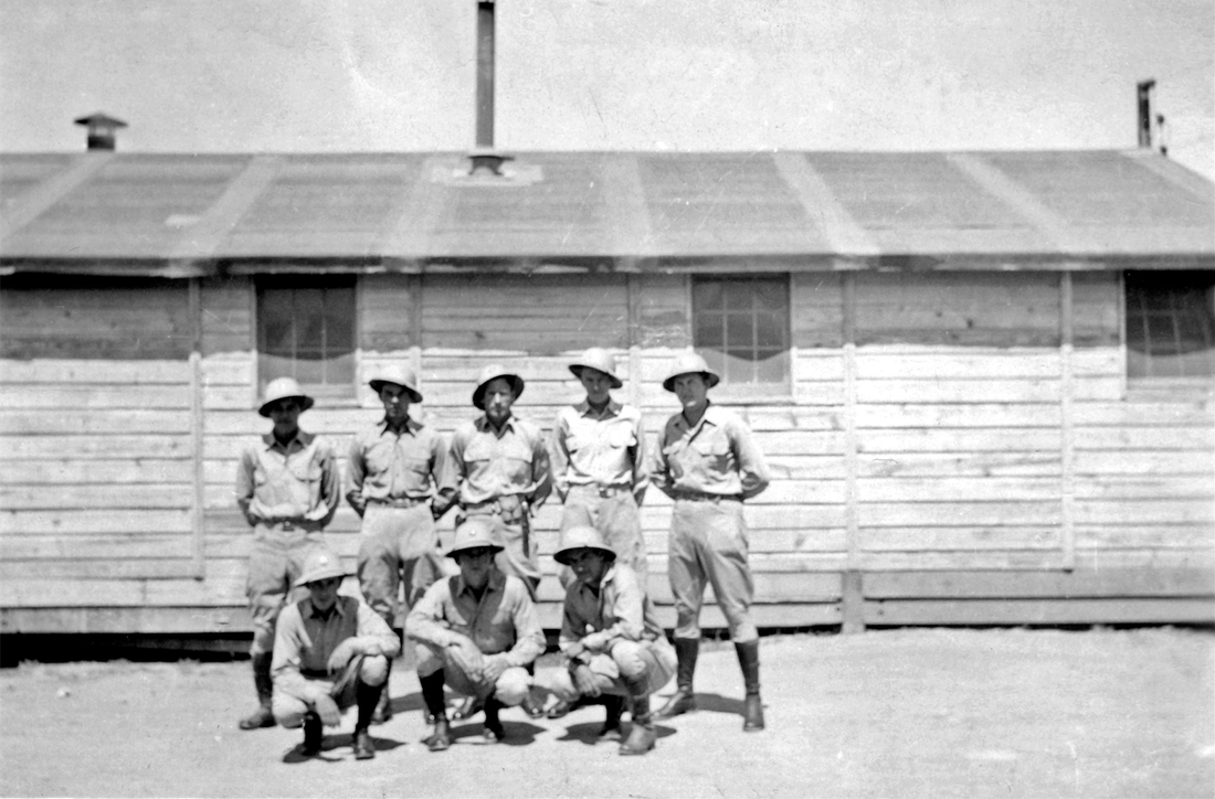 Military police (MPs) at Trinity Site. Back row: Bisher, Jeffery, Barnett, Chambers, and Noble. Front row: Agnew, Snodgrass, and Wendelin. Los Alamos Historical Society Photo Archives, Marvin Davis Collection.
