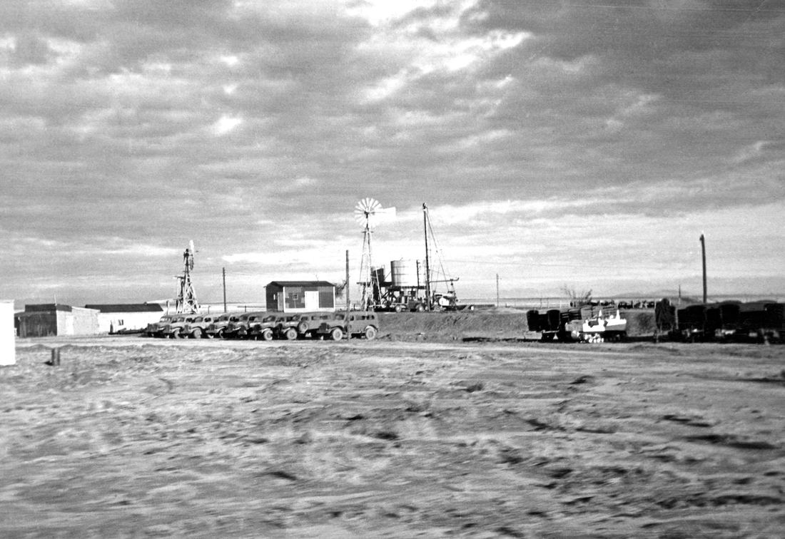 Base Camp at Trinity Site. Photo by Jack Aeby. Los Alamos Historical Society Photo Archives, Aeby Collection.